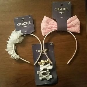 New! Set of 3 Cherokee Infant Headbands & Clips H2
